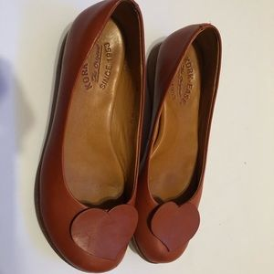 Kork-Ease Loafers Tan Reddish Brown with Heart